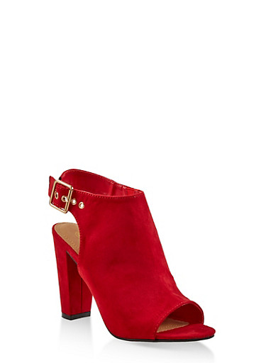 Cut Out Slingback High Heel Sandals,RED S,large