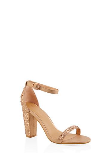 Rhinestone Studded Block Heel Sandals,ROSE,large