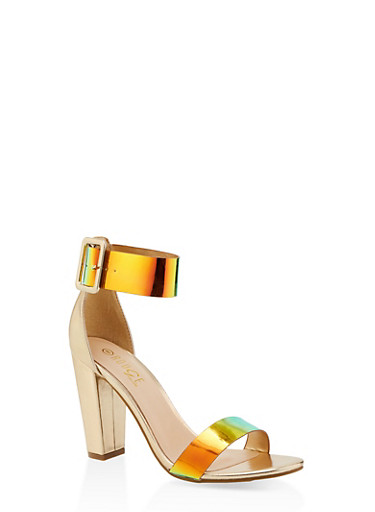 Iridescent Ankle Strap High Heel Sandals,GREEN,large