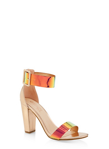 Iridescent Ankle Strap High Heel Sandals,PINK,large
