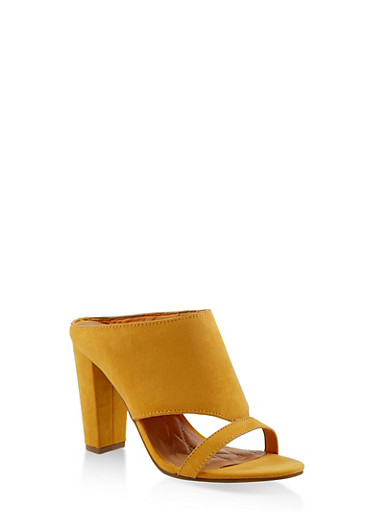Cut Out Block Heel Mules,YELLOW,large