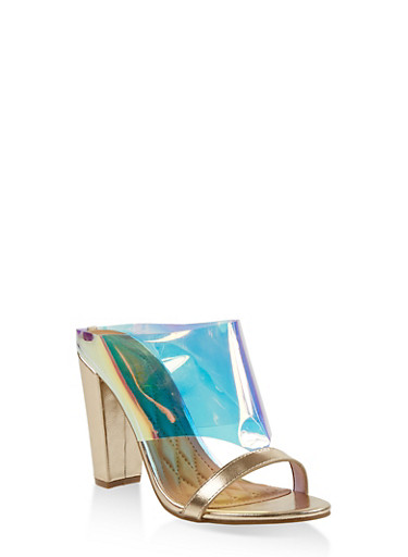Cut Out Block Heel Mules,GOLD,large