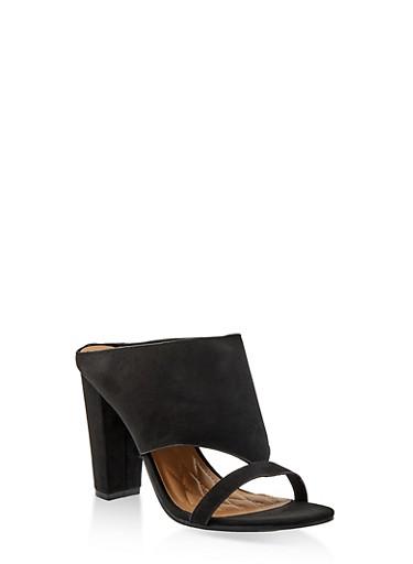 Cut Out Block Heel Mules,BLACK SUEDE,large