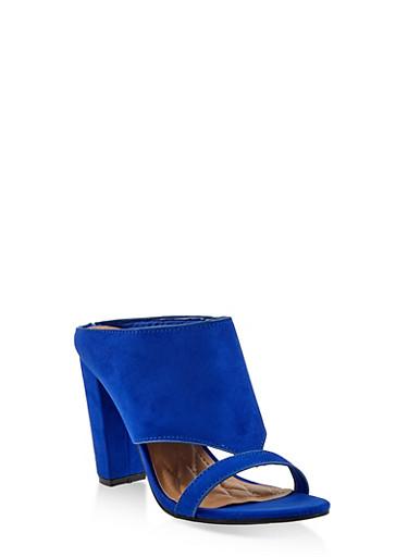 Cut Out Block Heel Mules,BLUE,large