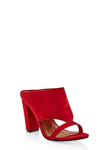 Cut Out Block Heel Mules,RED S,large
