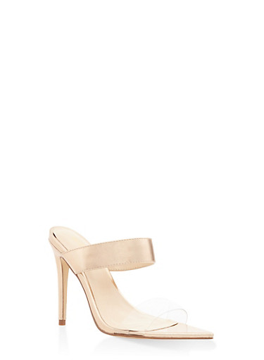 Double Band Mid Heel Sandals,ROSE,large