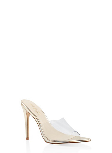 Open Toe High Heel Mules,CLEAR,large
