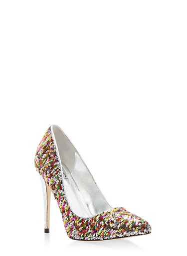 Pointed Toe High Heel Pumps,MULTI SEQUIN,large