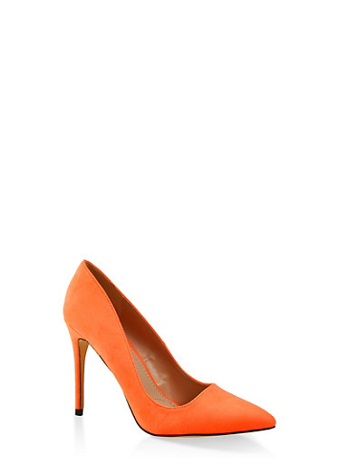 Pointed High Heel Pumps,ORANGE,large