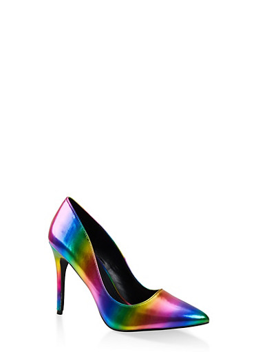 Pointed High Heel Pumps,MULTI COLOR,large