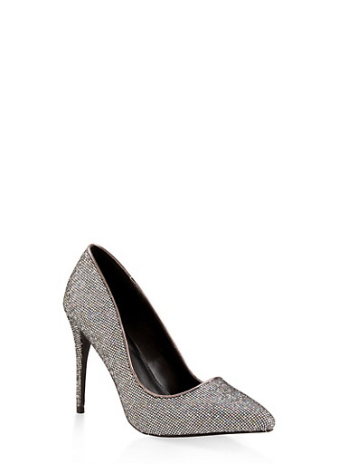 Glitter Mesh Pointed Toe Pumps,SILVER,large