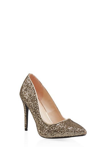 Glitter Mesh Pointed Toe Pumps,GOLD,large