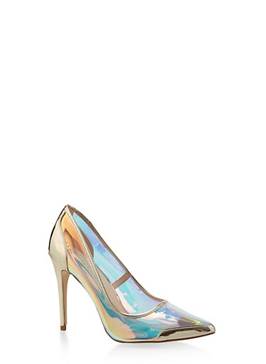 Pointed Toe High Heel Pumps,GOLD,large