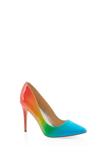Pointed Toe High Heel Pumps,MULTI COLOR,large