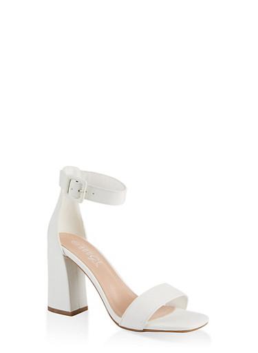 Single Band High Block Heel Sandals,WHITE,large