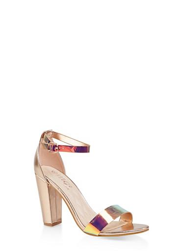 Ankle Strap Block High Heel Sandals,PINK,large
