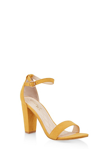 Ankle Strap Block High Heel Sandals,YELLOW,large