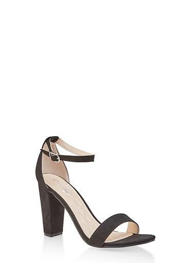 Ankle Strap Block High Heel Sandals,BLACK SUEDE,large