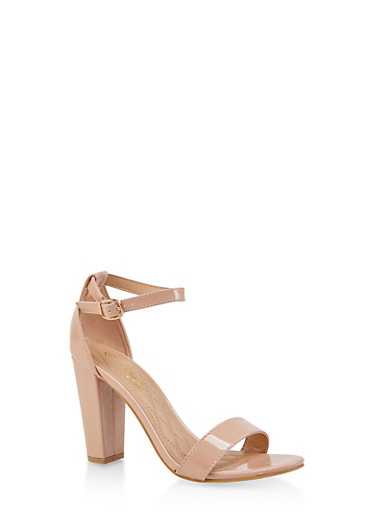 Ankle Strap Block High Heel Sandals,NUDE,large