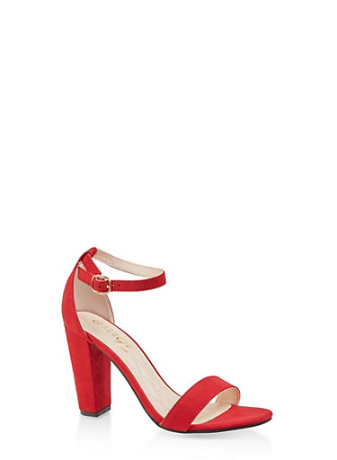 Ankle Strap Block High Heel Sandals,RED S,large