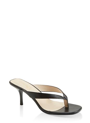 Mid Heel Thong Sandals,BLACK,large