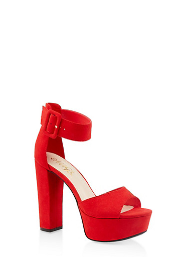 Ankle Strap High Heel Platform Sandals,RED,large