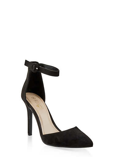 Ankle Strap High Heel Pumps,BLACK SUEDE,large
