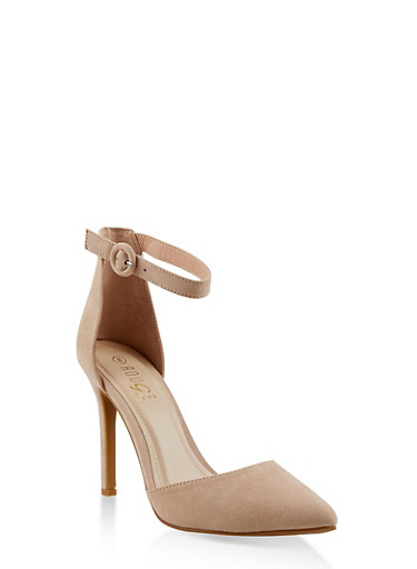 Ankle Strap High Heel Pumps,NUDE,large