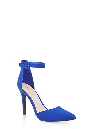 Ankle Strap High Heel Pumps,BLUE,large