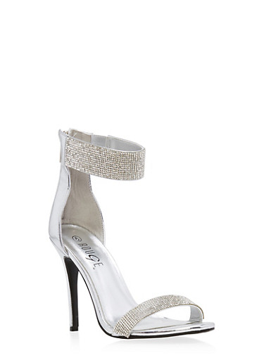 Rhinestone Ankle Strap High Heel Sandals,SILVER PATENT,large
