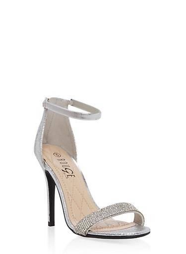 Rhinestone Strap High Heel Sandals,SILVER CMF,large