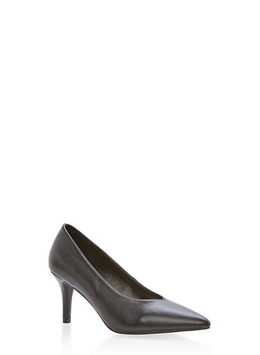 Pointed Toe Mid Heel Pumps,BLACK CRP,large
