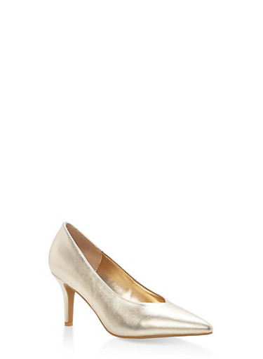 Pointed Toe Mid Heel Pumps,GOLD CRP,large