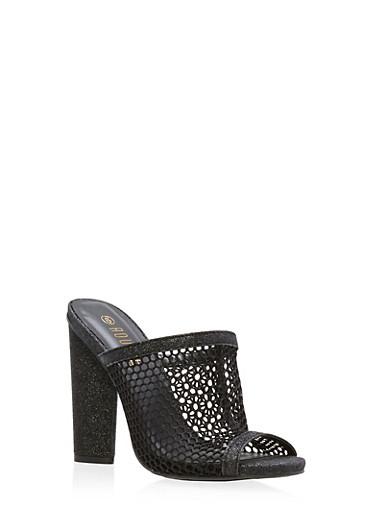 Glitter Mesh High Heel Slide Sandals,BLACK GLITTER,large
