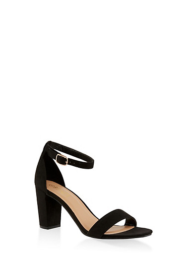 Ankle Strap High Heel Sandals,BLACK SUEDE,large