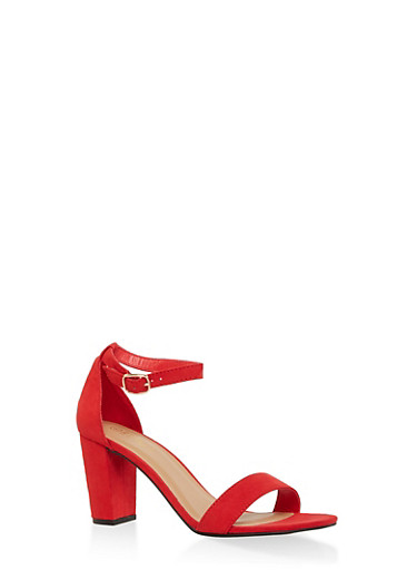Ankle Strap High Heel Sandals,RED S,large