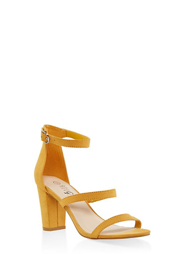 Strappy Block Heel Sandals,YELLOW,large
