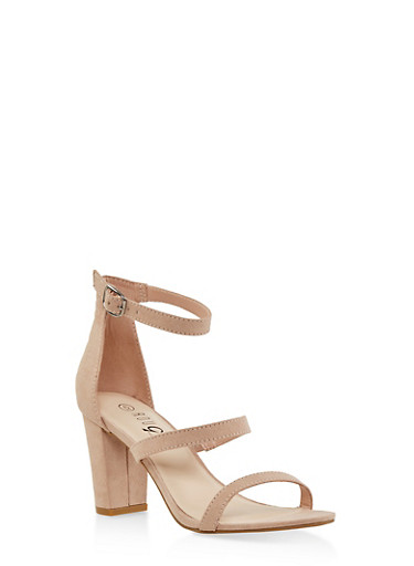 Strappy Block Heel Sandals,NUDE,large