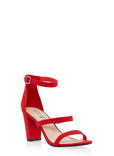 Strappy Block Heel Sandals,RED S,large