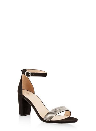Rhinestone Ankle Strap Sandals,BLACK SUEDE,large