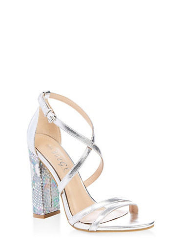 Cross Ankle Strap High Heel Sandals,SILVER,large