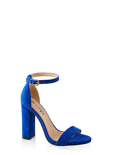 Ankle Strap Block Heel Sandals,ELECTRIC BLUE,large