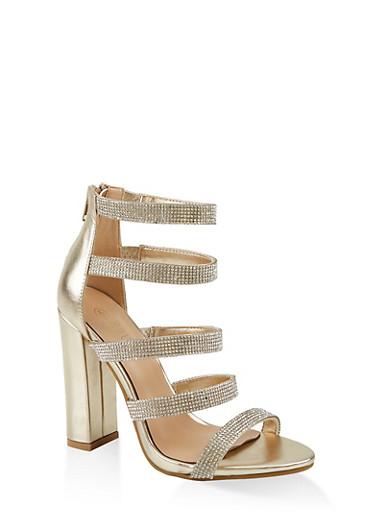 Multi Rhinestone Strap High Heel Sandals,GOLD,large