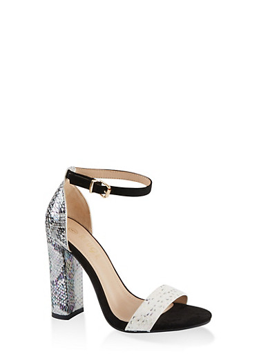 Printed Single Band High Heel Sandals,SILVER,large