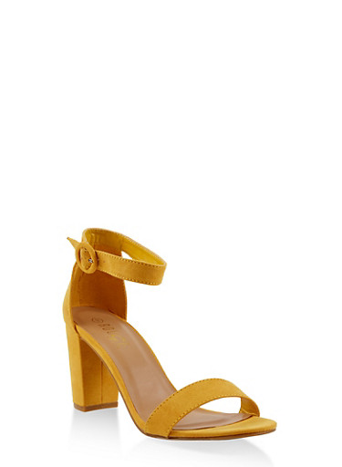Ankle Strap Block Heel Sandals,YELLOW,large