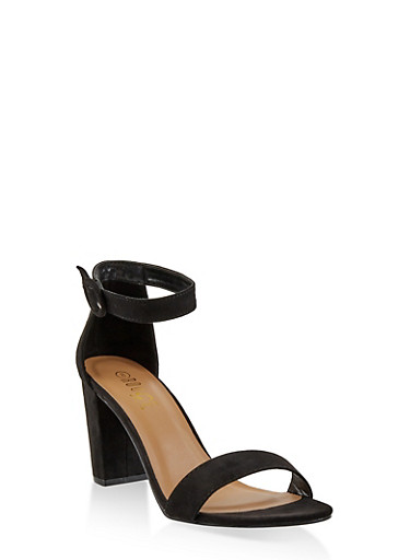 Ankle Strap Block Heel Sandals,BLACK SUEDE,large