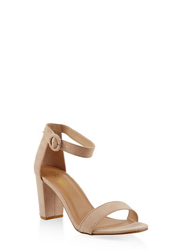Ankle Strap Block Heel Sandals,NUDE,large