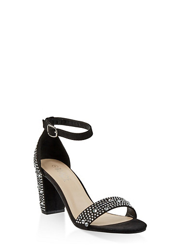 Rhinestone Studded Block Heel Sandals,BLACK SUEDE,large