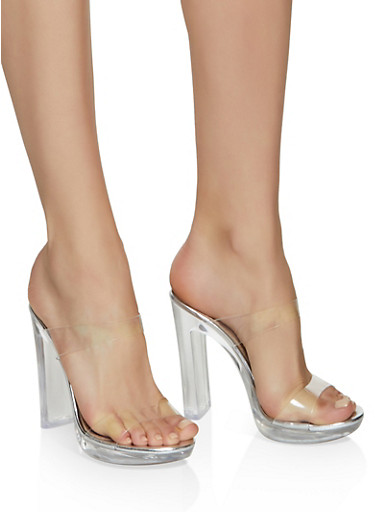 Two Band Clear Heel Mules,SILVER,large