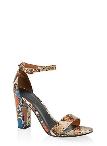 Snake Print Ankle Strap High Heel Sandals,NATURAL SKIN PRINT,large